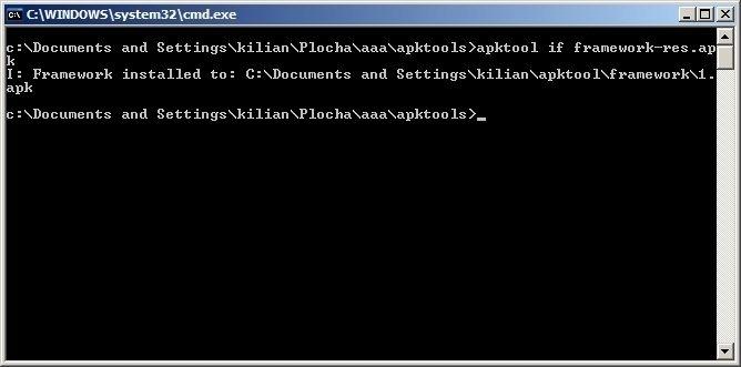 Měli byste dostat odpověď ve stylu I: Framework installed to: