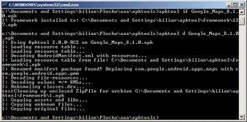 Zadáním příkazu apktool d název_souboru.apk dojde k rozbalení balíčku