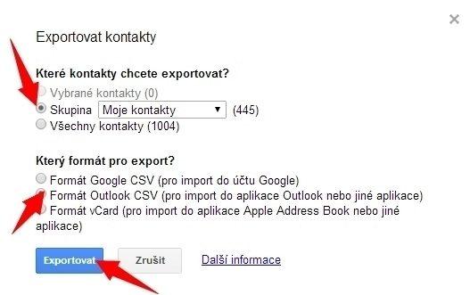 Nastavení exportu kontaktů