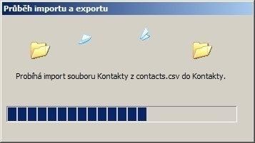 Vyčkejte na dokončení importu dat