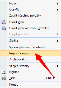 Zvolte Soubor-Import a export.
