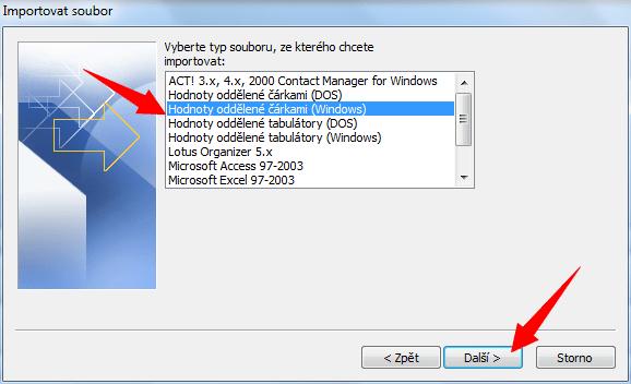 Zvolte Hodnoty oddělené čárkami (Windows)