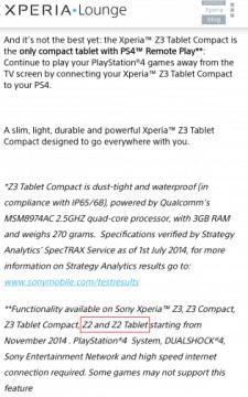 Sony Xperia Z2 PS4 Remote Play