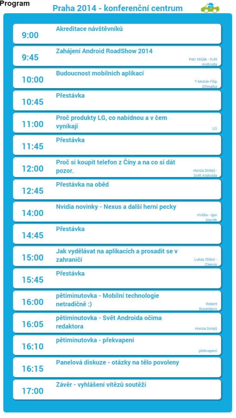 » Program Android RoadShow 2014 – dotkni se Androida ve svém městě
