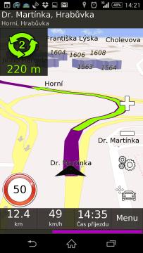 BE-ON-ROAD během navigování