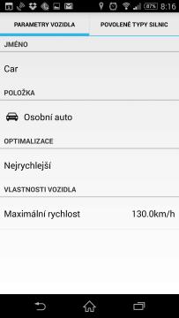 MapFactor Navigator umí nastavit vozidlo