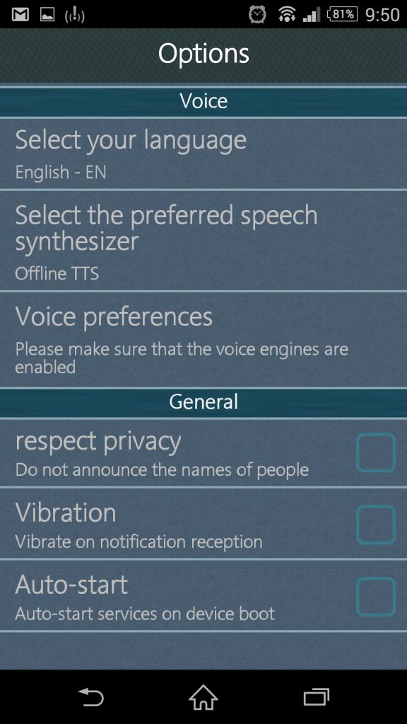 Možnosti nastavení aplikace Voicy Notifier