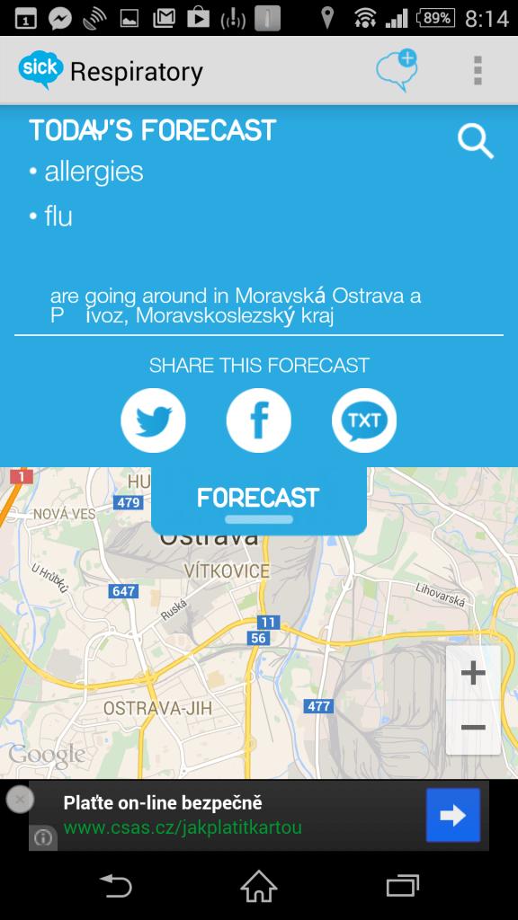 Mapa s aktuální polohou a předpovědí