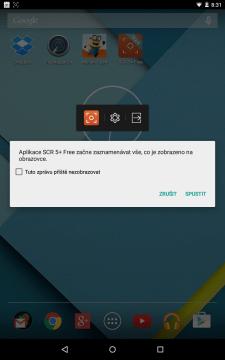 Aplikace začne zaznamenávat vše, co je zobrazeno na obrazovce