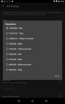 Nastavení Resolution