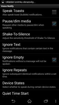 Uživatelské rozhraní Voice Notify
