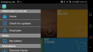 Aplikace FreeFlight 3 menu 1