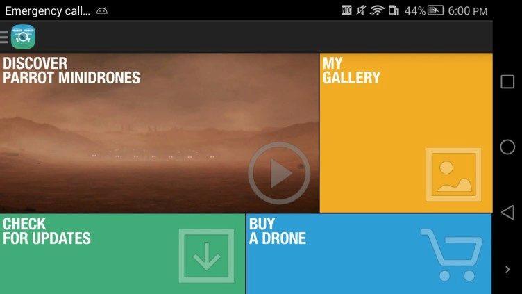 Aplikace FreeFlight 3 úvodní menu 1
