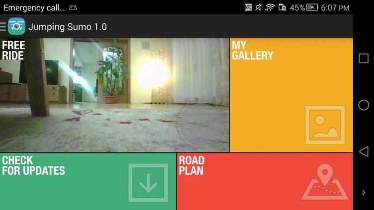 Aplikace FreeFlight 3 úvodní menu 4