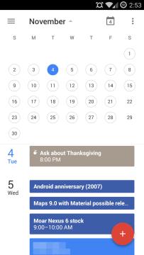 Nový Kalendář v designu Material