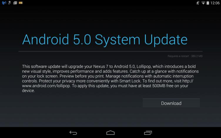 Vychází aktualizace na Android 5.0 Lollipop pro telefony a tablety Nexus