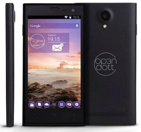 Mobilní telefon OP3N DOTT řetězce Tesco.