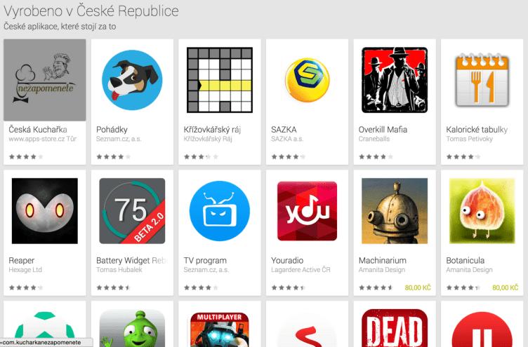 Vyrobeno v České republice obchod Google Play