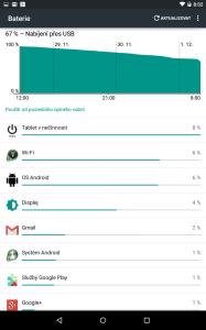 Informace o spotřebě baterie