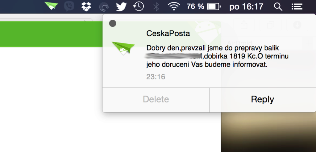 AirDroid 3.0 notifikace
