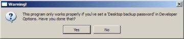 Aplikace upozorní na nutnost mít nastavené heslo