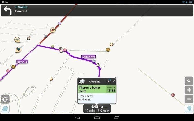 V případě, že Waze nalezne rychlejší cestu, automaticky na ni uživatele přesměruje