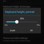 Výška klávesnice v režimu zobrazení na výšku