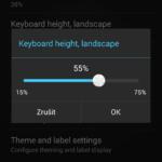 Výška klávesnice v režimu zobrazení na šířku