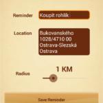 Location Based Reminder: zadání připomínky