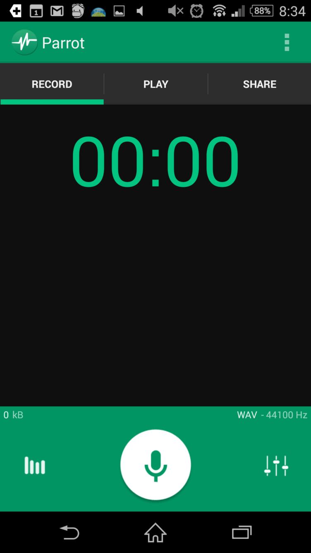Uživatelské rozhraní aplikace Parrot – Voice Recorder