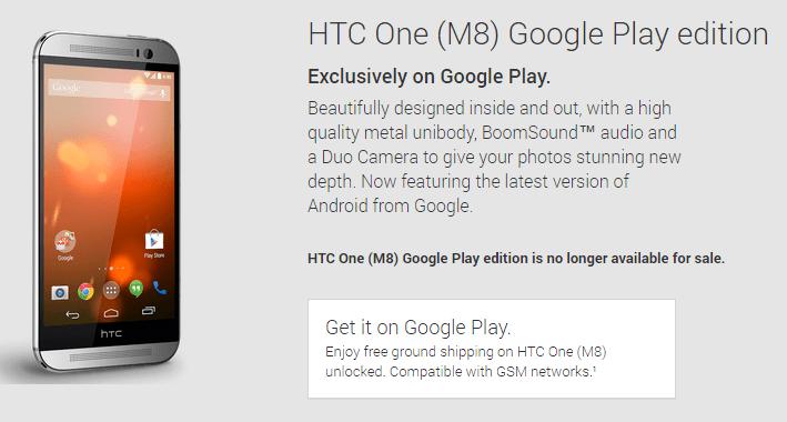 HTC One M8 byl oficiálně vyřazen z nabídky Obchodu Play