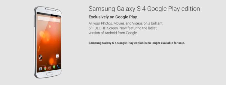 Samsung Galaxy S4 oficiálně končí v Google Play Edition