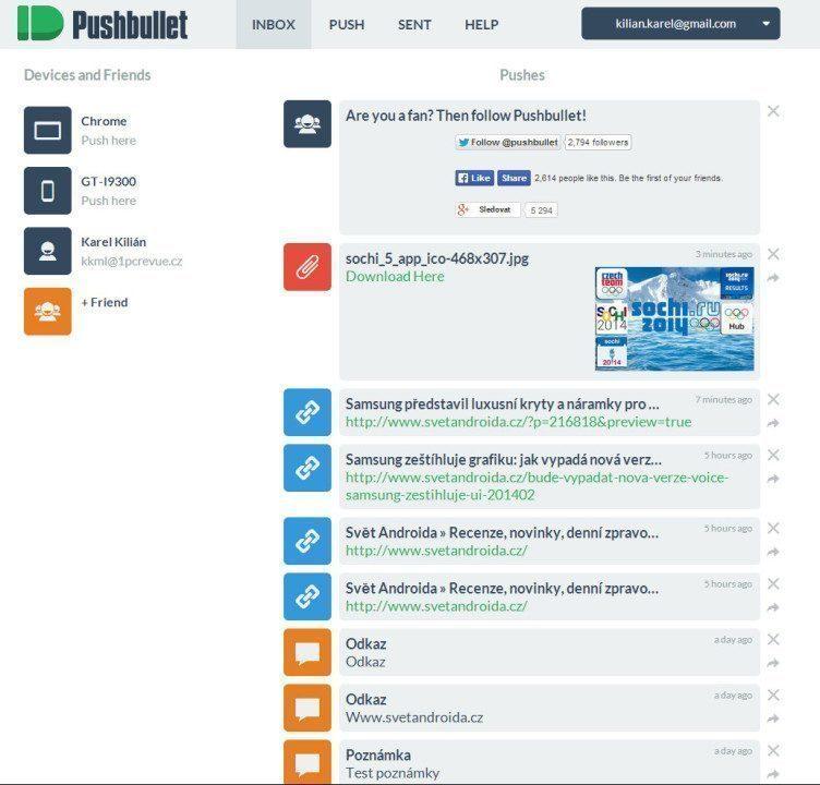Webové rozhraní Pushbullet