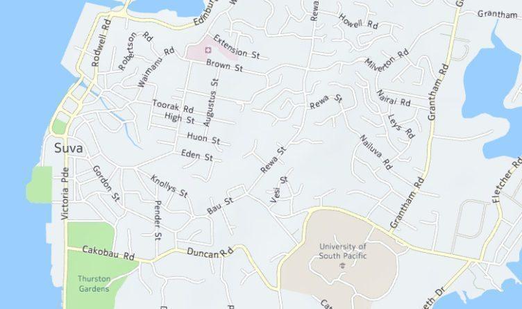 Část Fidži s názvy ulic a dalšími informacemi