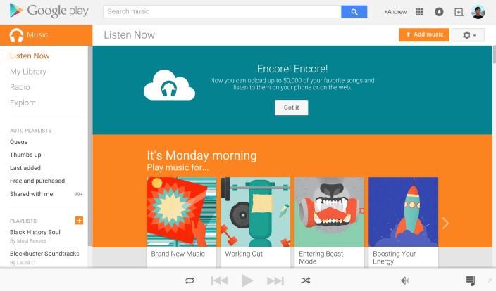 Google Play Music umožňuje import hudební sbírky