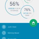 Úvodní obrazovka aplikace Power Clean (modrý skin)