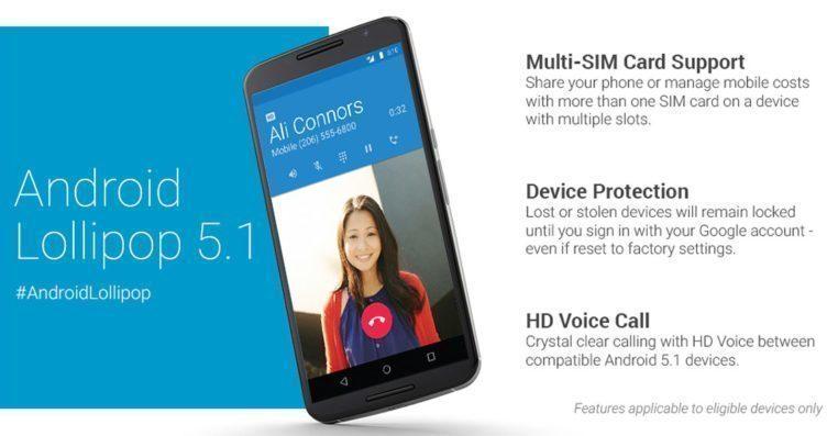 Android 5.1 přinesl například ochranu zařízení proti krádeži, podporu pro více SIM karet či podporu technologie HD Voice
