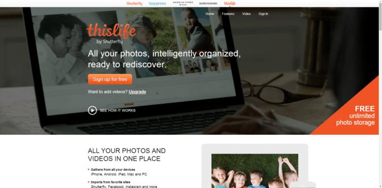 ThisLife nabízí neomezené úložiště pro vaše fotky