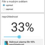 Uživatelské rozhraní aplikace Bluelight Filter for Eye Care