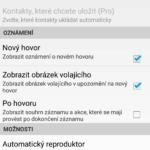 Možnosti nastavení aplikace Automatic Call Recorder