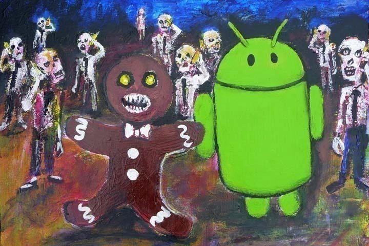 Zombie s kresleným perníkovým panáčkem