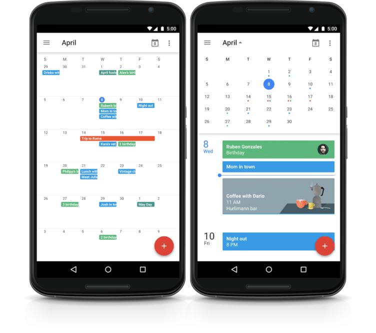 Google vrací do své aplikace Kalendář pro Android měsíční pohled