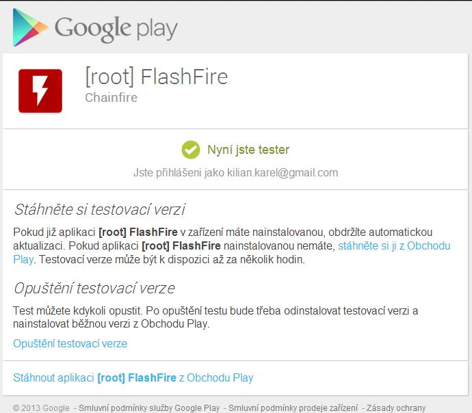 Přihlášení k beta testování FlashFire