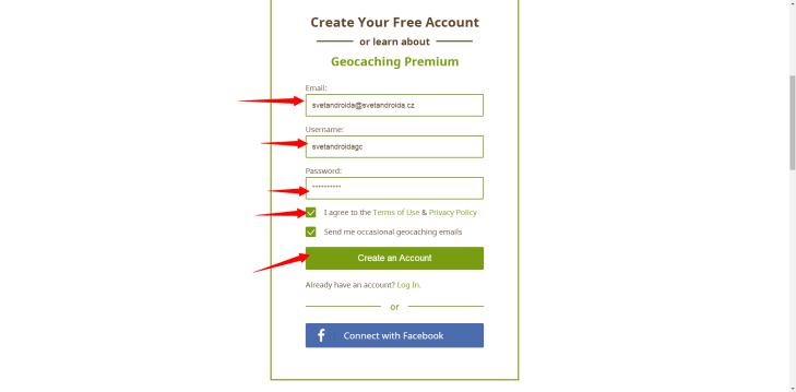 Založení účtu na webu Geocaching.com