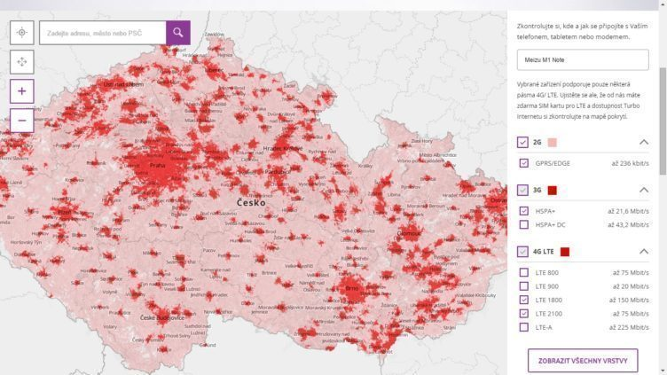 vodafone mapa pokrytí LTE