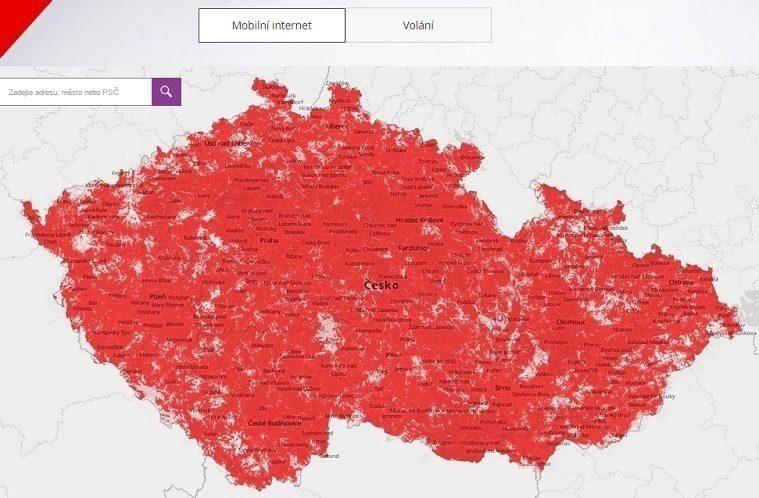 vodafone mapa pokrytí LTE titul