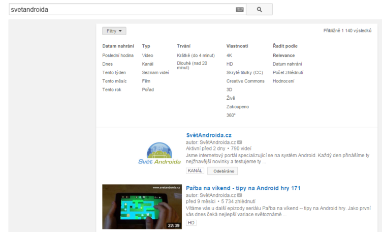 youtube 360 filtry