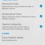 Možnosti nastavení aplikace Dormi