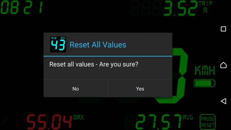 Reset všech naměřených hodnot