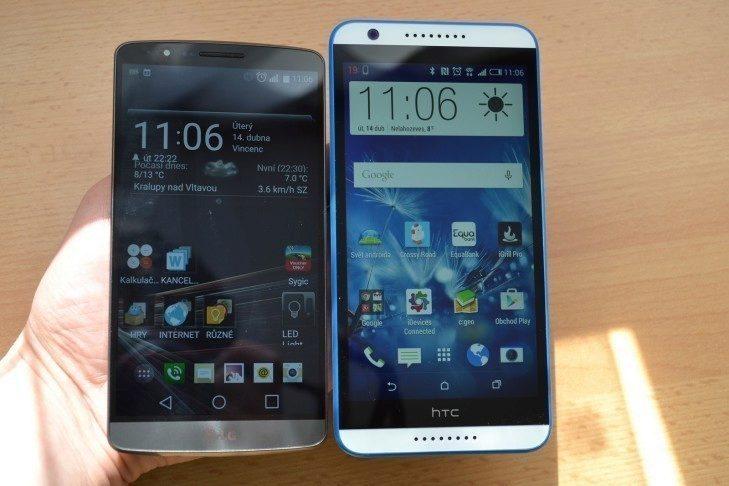 HTC Desire 820 po boku LG G3